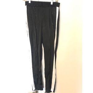FOREVER 21 BLACK SATIN TRACK PANTS WHITE SIDE TRIM